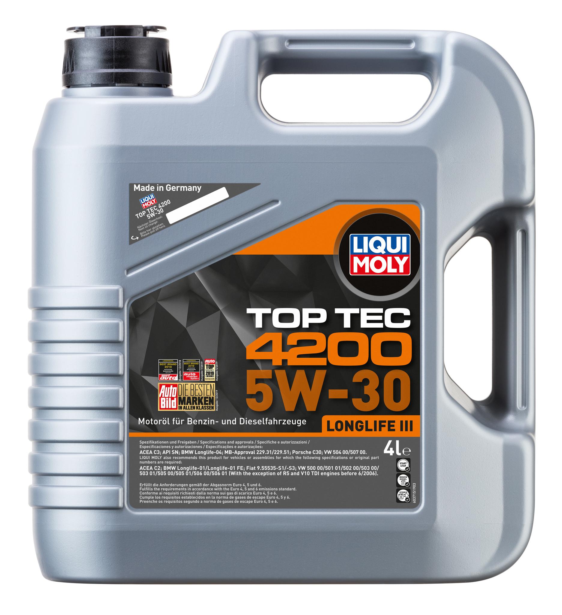 Liqui Moly Top Tec 4200 5W30 НС синтетическое моторное масло  для Volkswagen, Audi