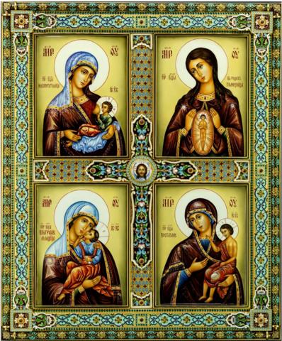 Икона Божией Матери Материнство Четырехчастная на дереве на левкасе мастерская Иконный Дом