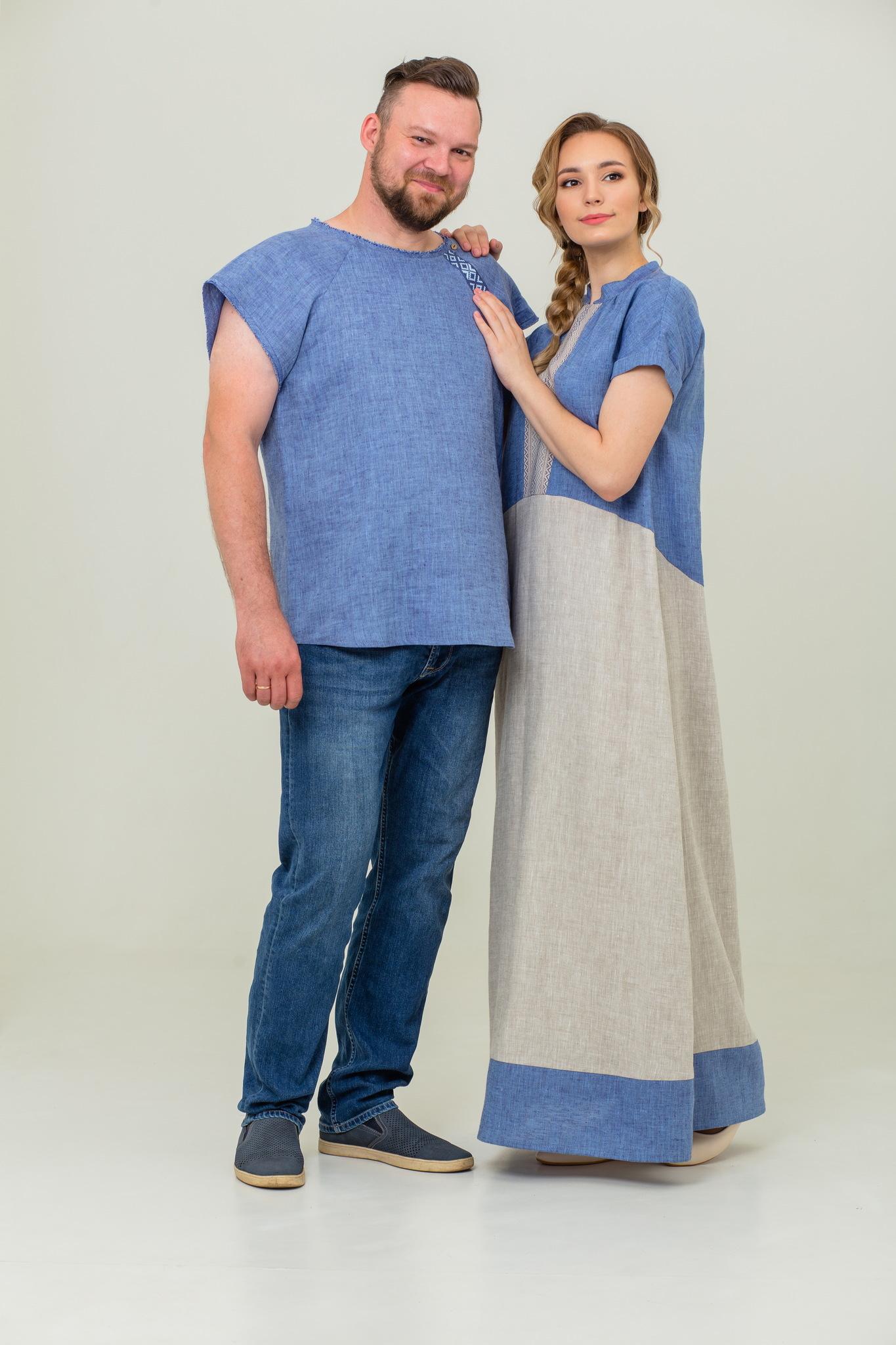 Мужская льняная футболка Богатырская и платье в русском стиле Морской песок