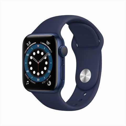 Apple Watch Series 6, 40 мм, корпус из алюминия синего цвета, спортивный ремешок «тёмный ультрамарин»
