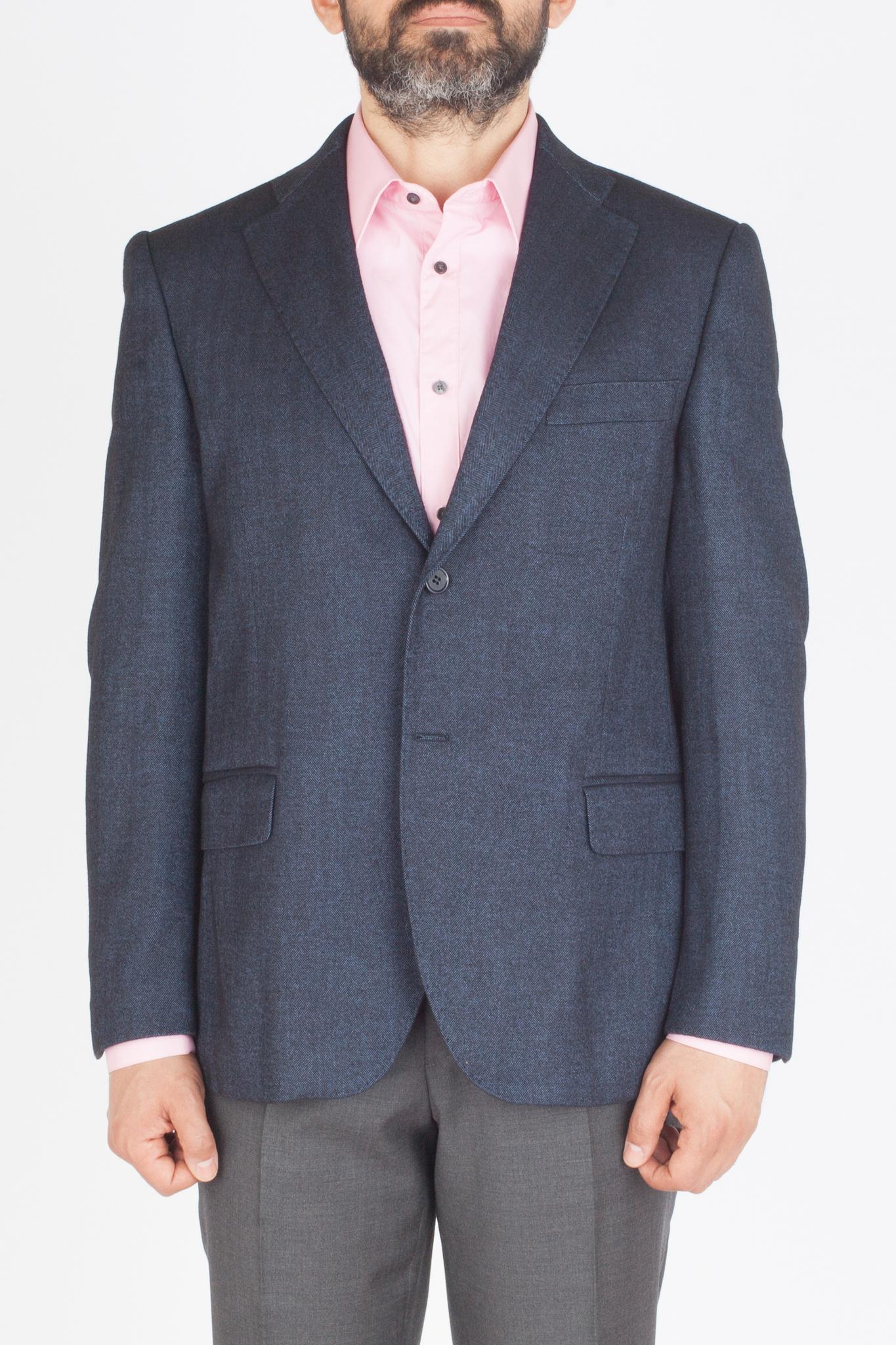 Тёмно-синий пиджак «в ёлочку» из шерсти и вискозы