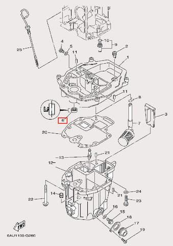Сальник 11.8×22×7 для лодочного мотора F9,9 Sea-PRO (24-6)