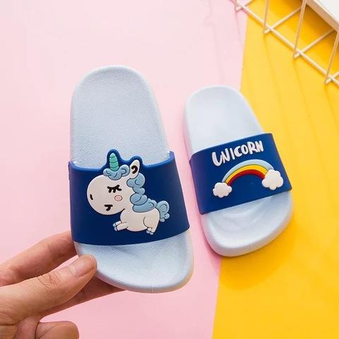 Тапочки единорог синие
