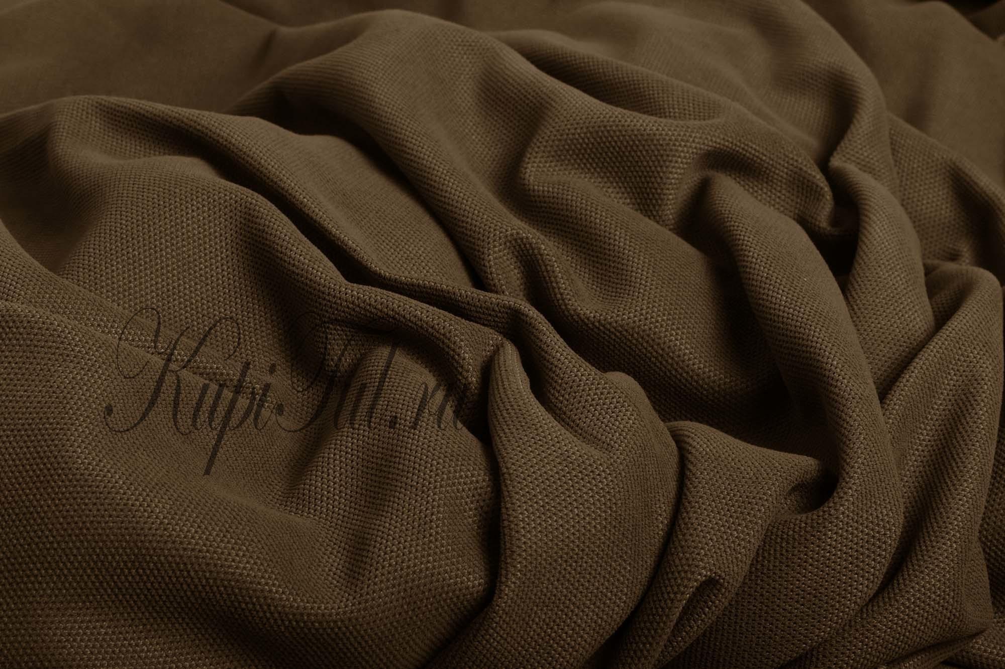 Длинные шторы. Kadife (коричневый). Стриженный бархат.