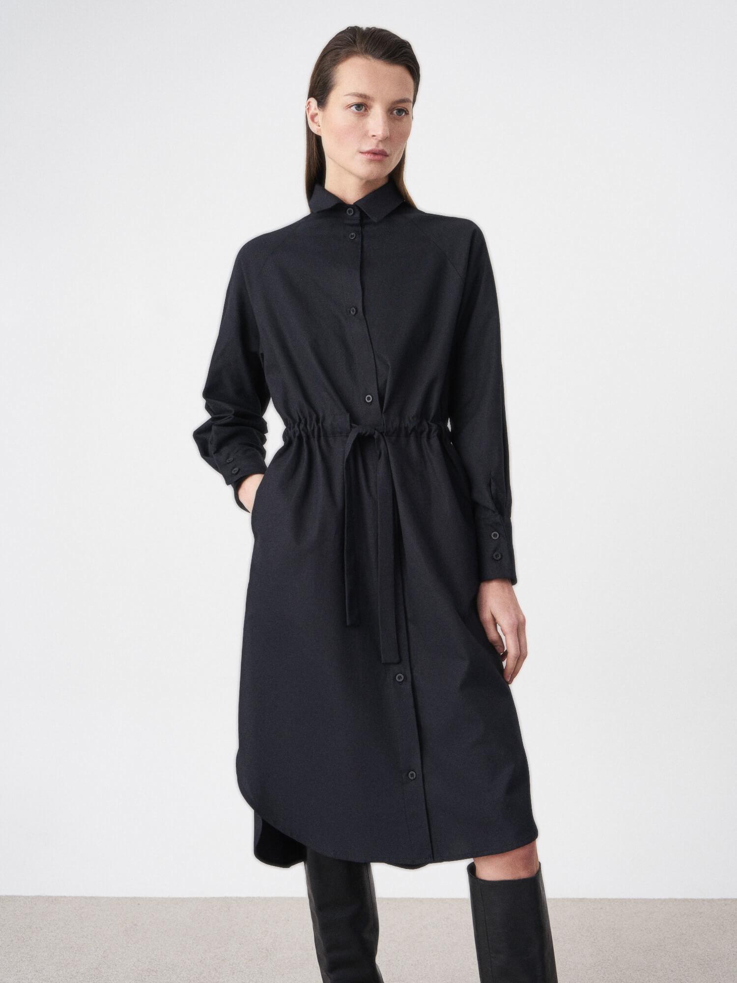 Платье-рубашка Flavia с широкой кулиской, Черный