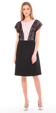 Фото черное праздничное платье-трапеция с кружевом на молнии - Платье З224-101 (1)