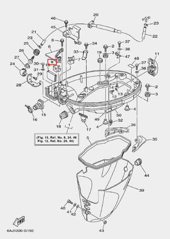 Фиксатор троса 1 для лодочного мотора F20 Sea-PRO (15-9)