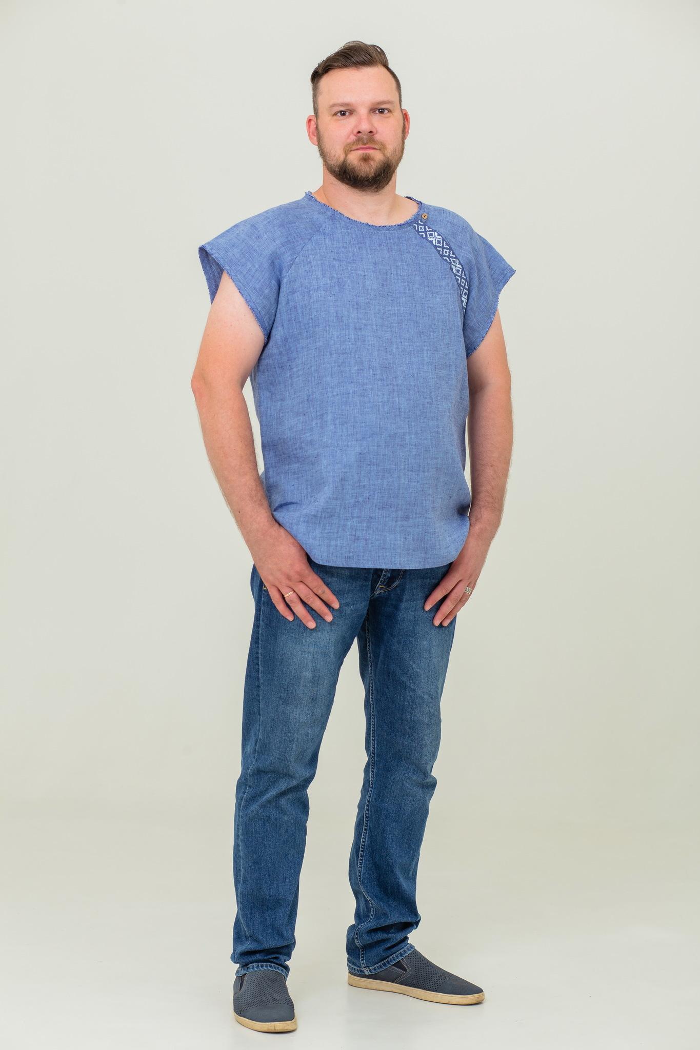 Летняя футболка из льна для мужчин Богатырская