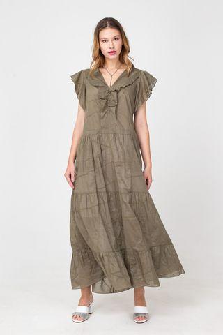 Фото хлопковое летнее платье миди с воланами - Платье З372-333 (1)