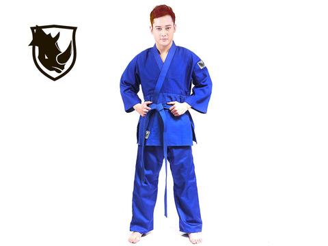 Кимоно дзюдо RHINO. Цвет синий. Размер 40-42. Рост 145.
