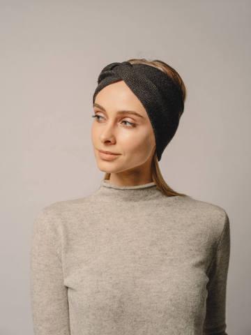 Женская повязка на голову черного цвета из кашемира - фото 3