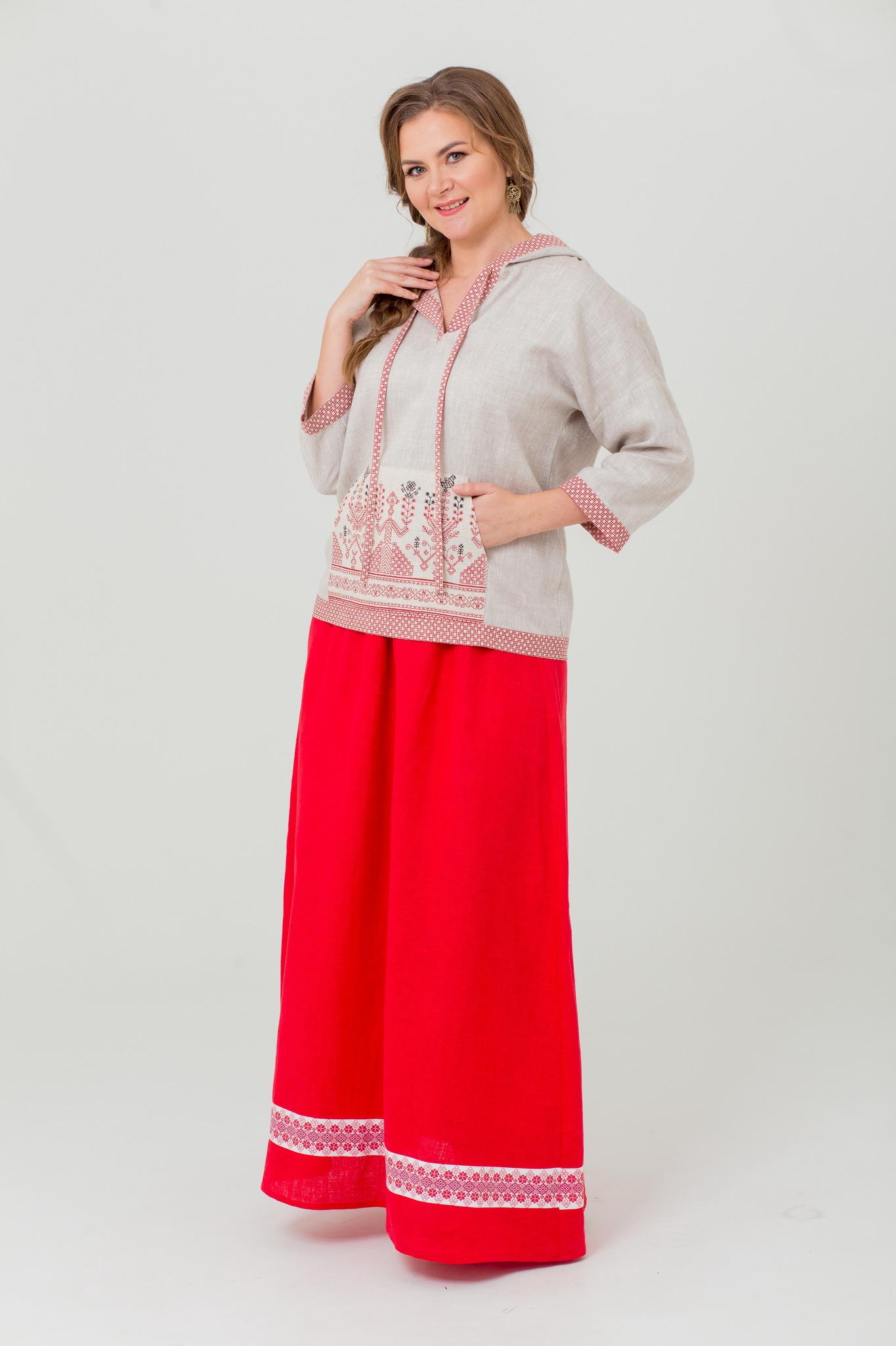 Блуза с карманом кенгуру и капюшоном Ася
