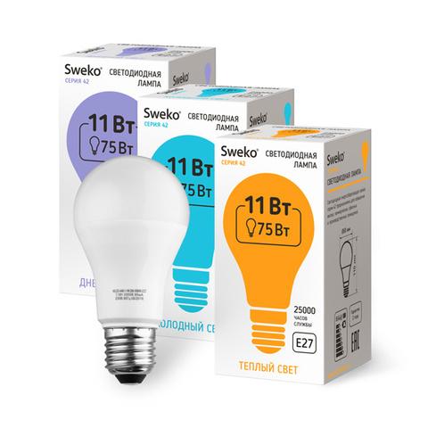 Лампа светодиодная стандартной формы Sweko 42LED-A60-11W-230-6500K-E27 (Дневной свет)