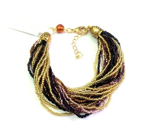 Бисерный браслет, 24 нити, золотисто-черно-фиолетовый