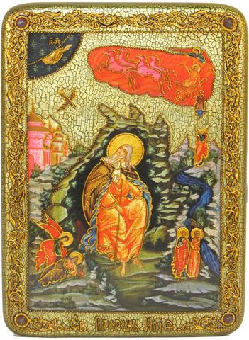 Инкрустированная рукописная икона Пророк Илия Фесвитянин 29х21см на натуральном дереве в подарочной коробке
