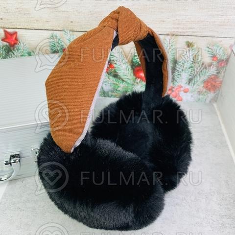 Наушники утеплённые складные с ободком-узлом цвет: чёрный