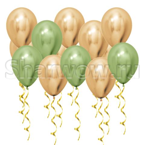 Воздушные шары под потолок Золото хром и лайм