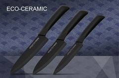 Набор из 3-х кухонных ножей из чёрной керамики Samura Eco-Ceramic, арт. SKC-003B
