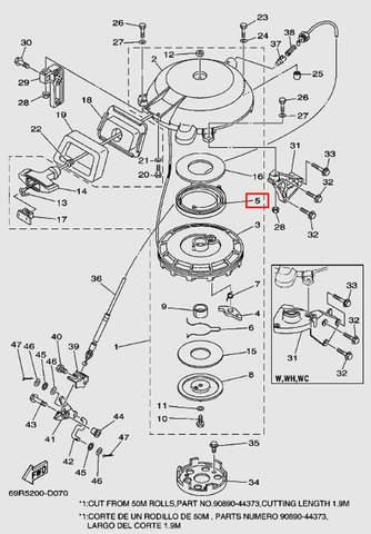 Пружина стартера большая для лодочного мотора Т30 Sea-PRO (7-5)