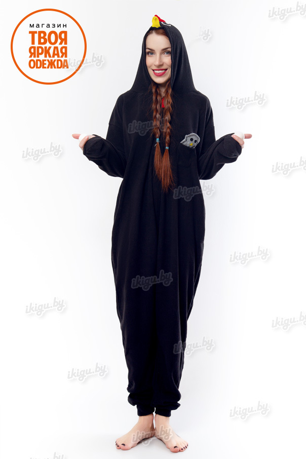 Пижамы кигуруми Чёрная Курица (флис) chiken2.jpg