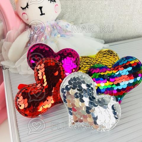 Набор резинки для волос Сердечки с двусторонними пайетками меняют цвет (6 штук)