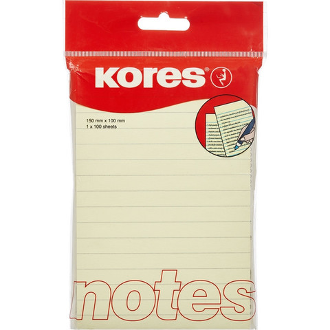 Стикеры Kores 100x150 мм пастельные желтые в линейку (1 блок, 100 листов)