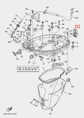 Защелка колпака для лодочного мотора F20 Sea-PRO (15-11)