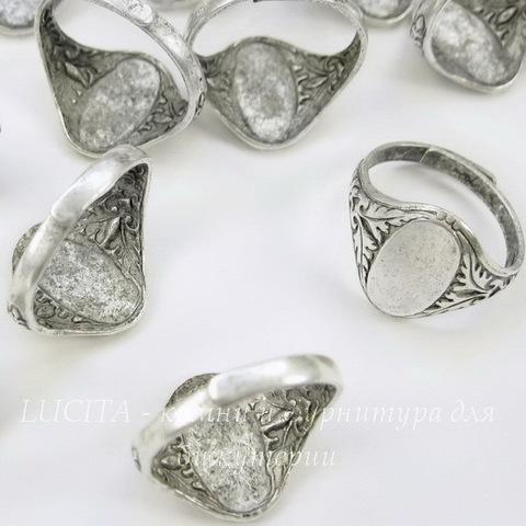 Винтажная основа для кольца с площадкой 14х8 мм для кабошона (оксид серебра)