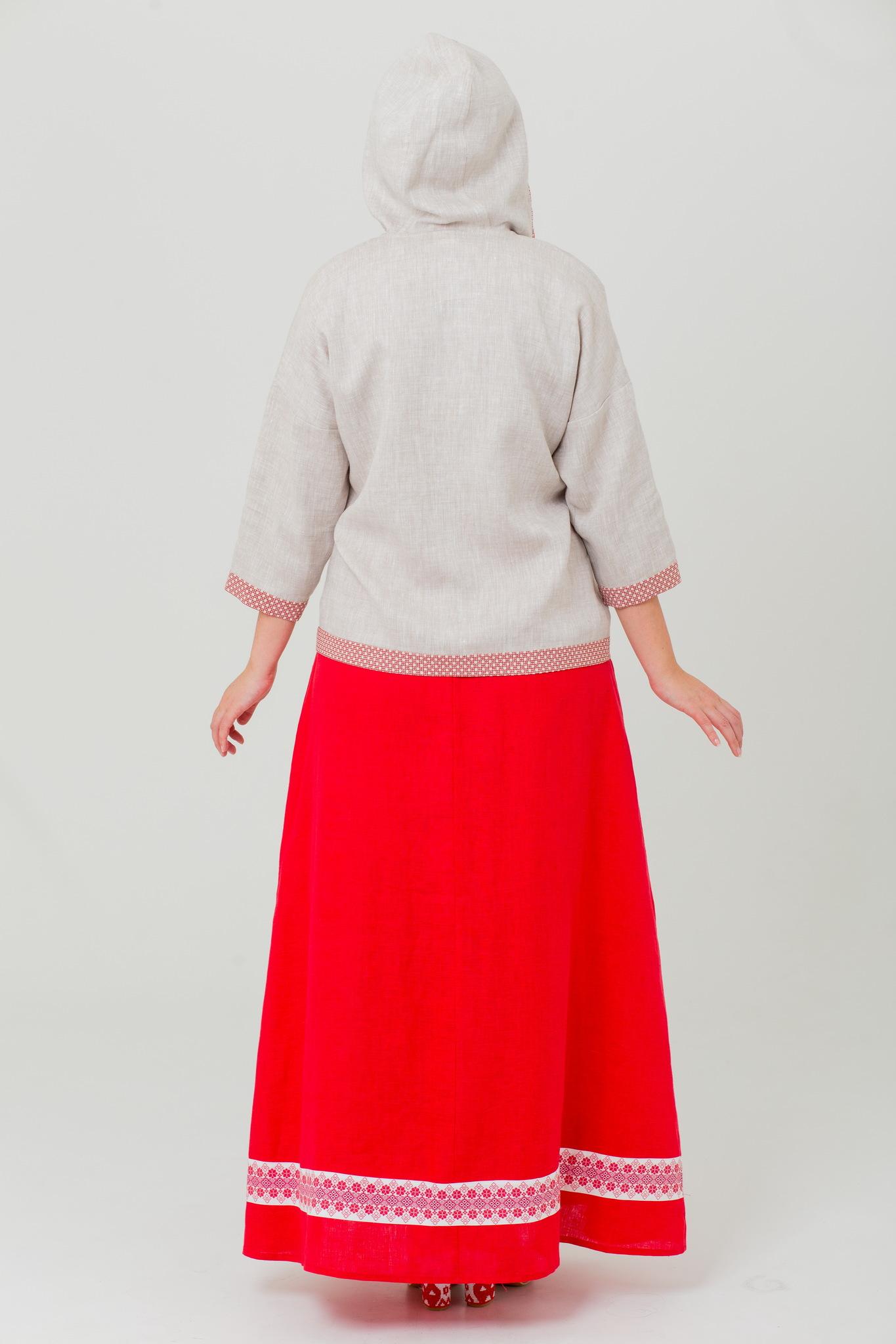 Блуза с капюшоном из льна Ася