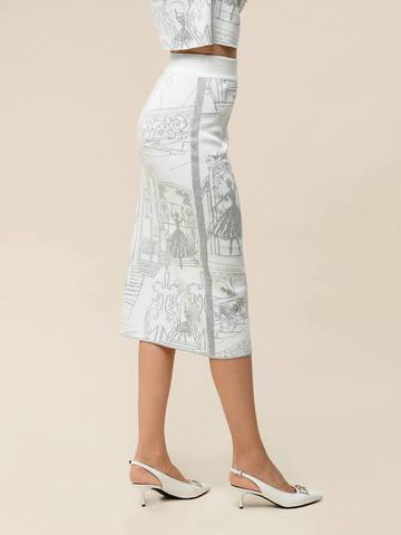 Женская юбка-карандаш с принтом молочного цвета из вискозы - фото 4