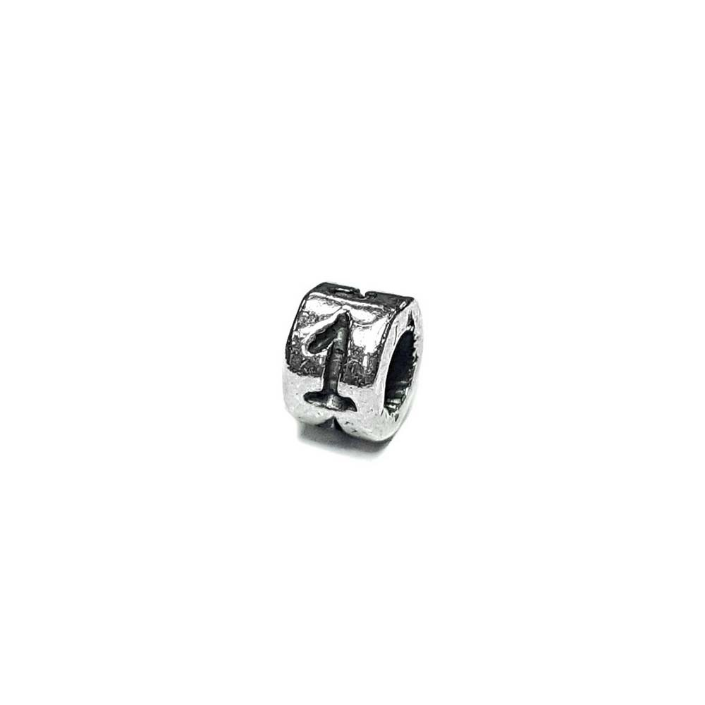 Number 1 charm, one , Sterling Silver