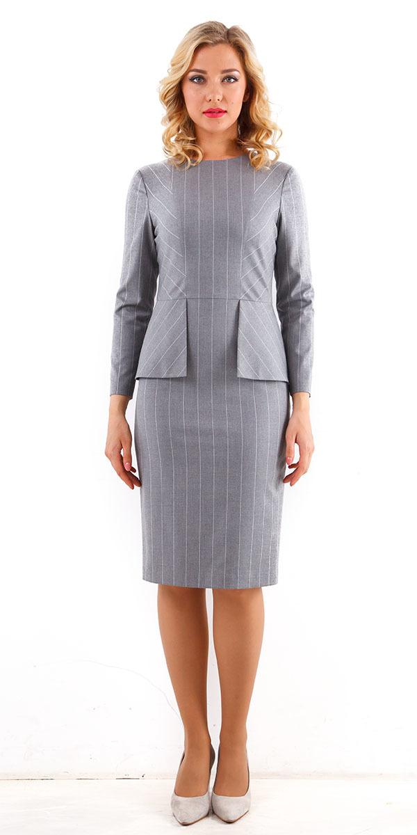 Платье З208-183 - Офисное, приталенное платье с длинным рукавом, классической длины. Изготовлено из качественной, костюмной ткани, которая будет безупречно держать форму, Модель, украшенная баской, создаёт элегантный, изящный образ