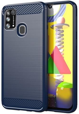 Чехол синего цвета для Samsung Galaxy M31, серии Carbon от Caseport