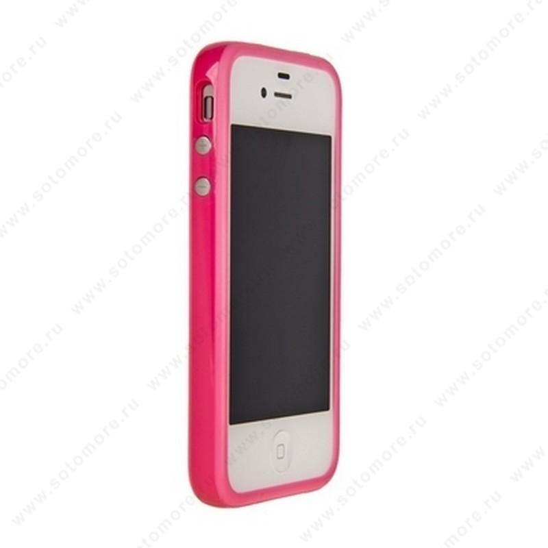 Бампер для Apple iPhone 4s/ 4 Bumper, цветное яблоко на упаковке, розовый