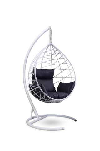 Подвесное кресло-кокон ALICANTE белое + каркас + черная подушка