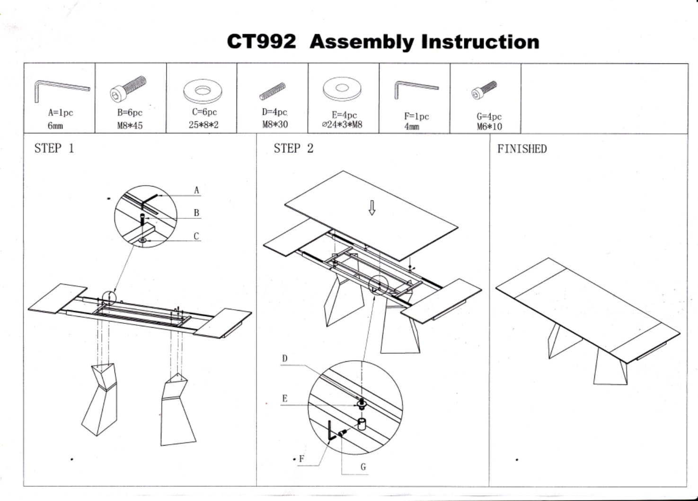 Стол ESF CT992 белый схема сборки