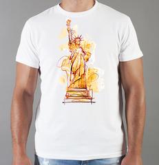 Футболка с принтом США, Статуя Свободы (USA/ Statue of Liberty ) белая 0013