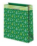 Новогодний подарочный пакет Зеленый с елочками (большой)