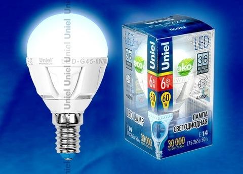 Uniel Лампа LED-G45-6W/NW/E14/FR Palazzo шарик (белый свет)