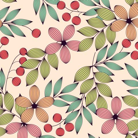 Полосатые цветы и листья