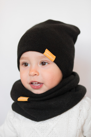 Детский снуд-горловинка из турецкой шерсти черный