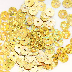 Пайетки золотые с голограммой, 6 мм, 10 грамм