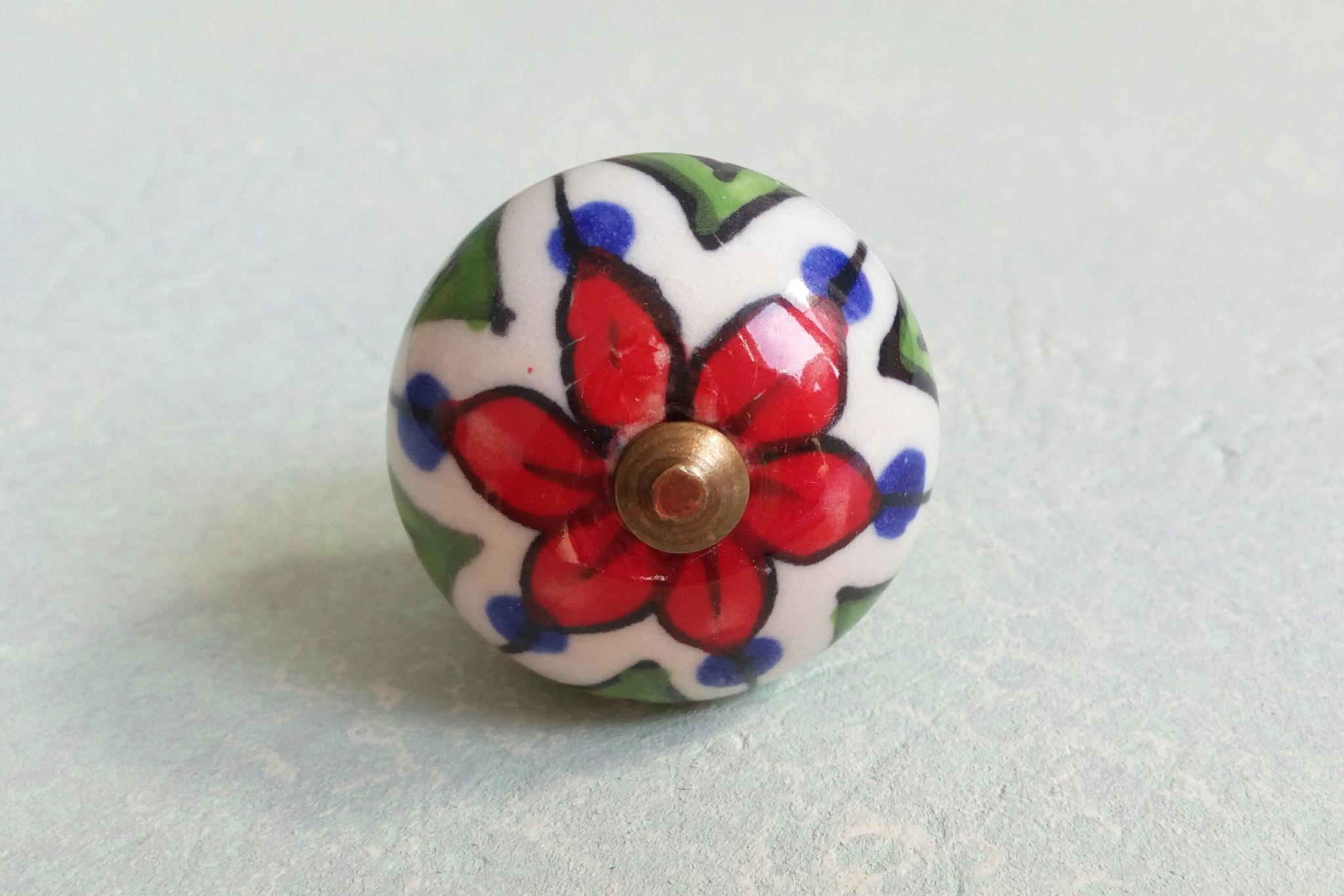 Ручка мебельная керамическая  расписная √1045