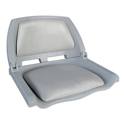Сиденье пластмассовое складное с подложкой Molded Fold-Down Boat Seat, серое