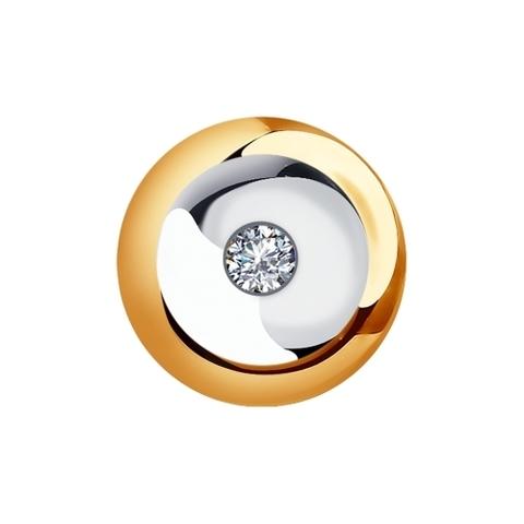 Подвеска круглая из золота с бриллиантом от SOKOLOV