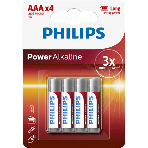 Батарейки Philips Power Alkaline LR03, AAA (4/48) BL