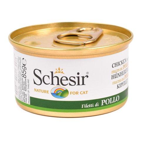 Schesir консервы для кошек с натуральным куриным филе 85г