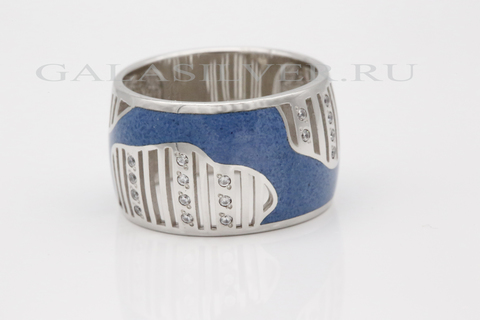 Кольцо с эмалью и фианитом из серебра 925