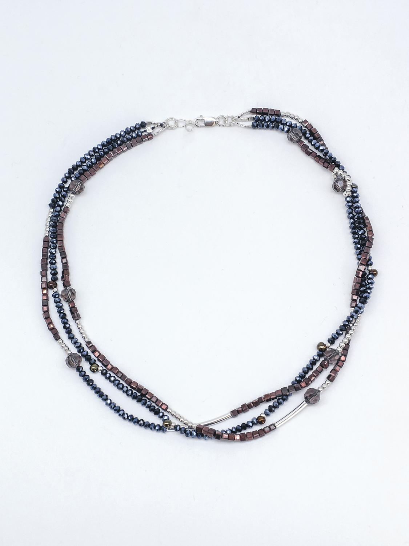 Браслет из синего, коричневого хрусталя с серебром  оптом и в розницу