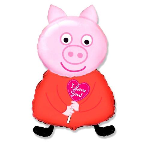 Фольгированный воздушный шар Поросенок с сердцем. Розовый.